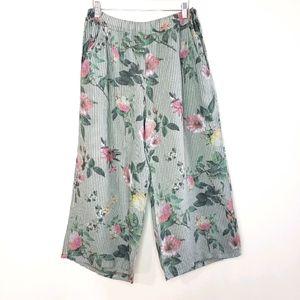 Pistache Cropped Wide Leg Linen Floral Large Pants